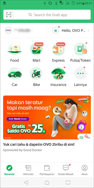 GrabTaxiアプリの使い方1